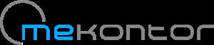 """Logo mekontor GmbH & Co. KG; """"me"""" in hellblau und """"kontor"""" in grau"""