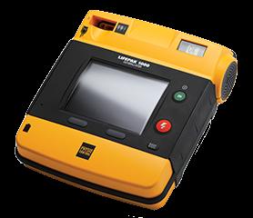 LIFEPAK 1000; Ansicht von Vorne von der Seite, Farben: gelb, schwarz, Display ausgeschaltet.